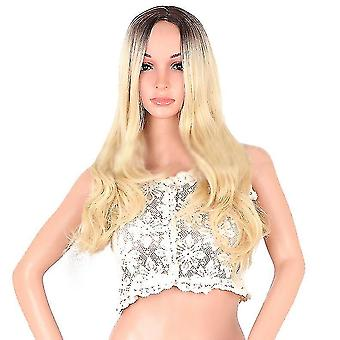 Pitkä Aaltoileva Peruukki Ombre Blonde Peruukit Naisille Synteettinen Kiharat Hiukset