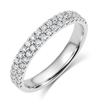 HS Johnson HSJ-RX11010 Women's Double Row Diamond Set Brilliant Cut Platinum Ring