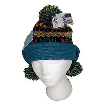Muk Luks Convertible Pom Pom Beanie Blue Hat