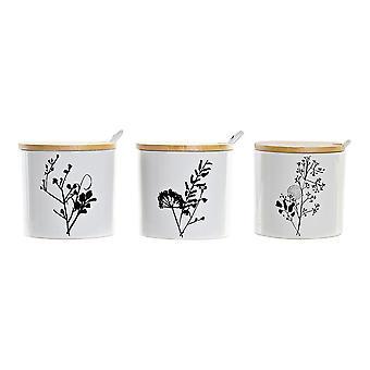 Sugar Bowl DKD Home Decor Bambus Steinzeug Traditionell (3 Stück)