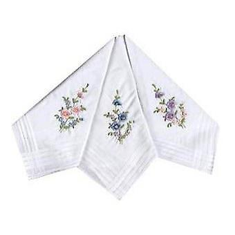 12 Pack Women's/Ladies White Flower Embroidered Handkerchiefs With Satin Stripe Borders, 100% Cotton