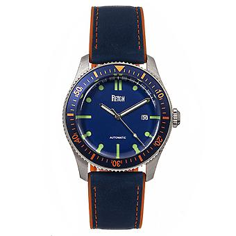 Reign Elijah Automatic Rubber Inlaid Leather-Band Watch W/Date - Blue/Orange