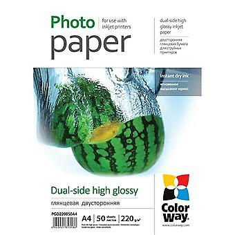 ColorWay high gloss double-sided photo paper, 50 sheets, A4, 220 g/m²
