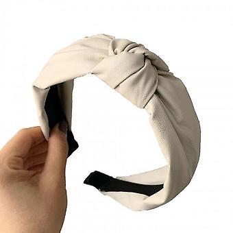 2PCS Kvinder Hair Band Bezel Pu Læder Hårbånd Solid Color Retro knyttede pandebånd Hair Hoop