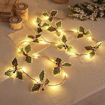 Mimigo 20 Led Christmas String Lights,pinecone Red Berry Bell Xmas Garland With Lights Battery Operated Fairy String Lights With Pine Cone Indoor Outd