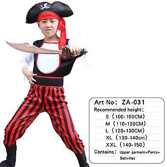 Kinder Piraten Kostüm mit Schuhen, Hut und Gürtel für Jungen und Mädchen Kinderkleidung Fluch der Karibik Captain Set-(za031)
