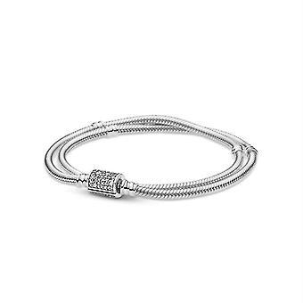 2021 New Pandora Double Circle Snake Bone Bracelet Ladies Original Beaded Diy Charm 925 Sterling Silver Fashion Bangle Jewelry