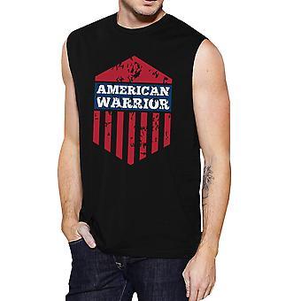 Amerikaanse Warrior zwarte Crewneck katoen grafische spier Tanks voor mannen
