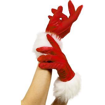 Nicholas handschoenen dames Santa kerst vrouwen rood bont