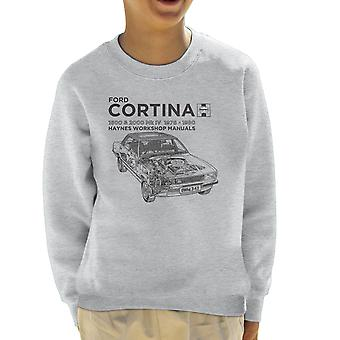 Camisola de Haynes proprietários Workshop Manual Ford Cortina preta infantil