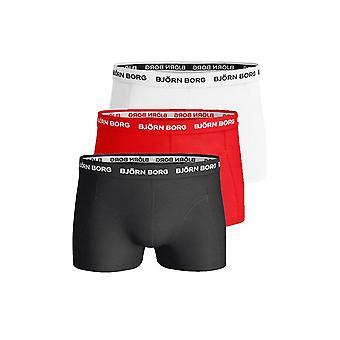Bjorn Borg 3-Pack Classic Logo Boxer Trunks, Red/White/Black