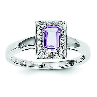925 sterling silver rosa ametist Diamond Ring-Ring storlek: 6 till 9