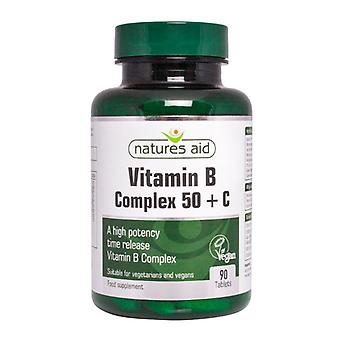 Natures Aid Vitamin B Complex (High Potency) + C (with Vitamin C), 90 Tablets. Suitable for Vegans.
