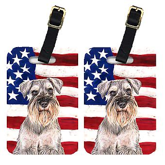 Pair of USA American Flag with Schnauzer Luggage Tags
