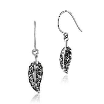 Art Nouveau Style Round Marcasite Leaf Drop Earrings in 925 Sterling Silver 234E024501925