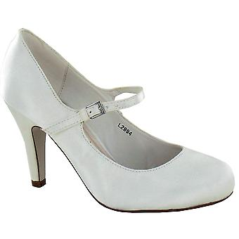 976cee02 Ladies Womens Ivory Satin Wedding Bridal Ankle Strap Bar Courts Shoes