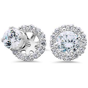 Femmes's 3/4ct Diamond Studs & Boucle d'oreille Halo Jackets Solid 14k White Gold