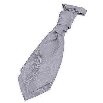 Zilveren Paisley vooraf gebonden bruiloft Cravat voor jongens
