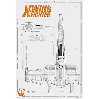 Star Wars X-Wing Blueprint Poster Poster Print