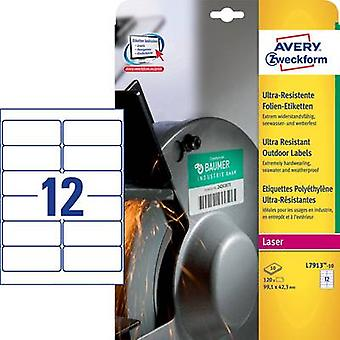 Avery-Zweckform L7913-10 Labels 99.1 x 42.3 mm PE film White 120 pc(s) Permanent All-purpose labels