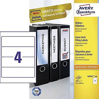 Archivo del arco palanca Zweckform Avery etiquetas L4761 100 61 x 192 mm papel blanco permanente 400 PC