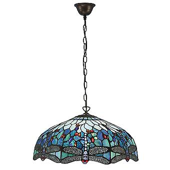 Interiors 1900 Blue Tiffany Dragonfly Large Ceiling Pendant Lamp