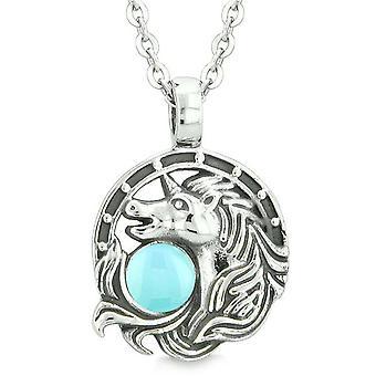 Unicorn Amulet heldige charme hesten sko magiske Baby blå cirkel vedhæng 18 tommer halskæde