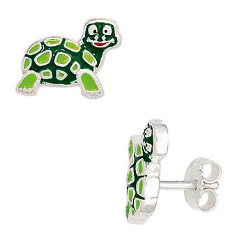 Children earrings TURTLE green 925 Sterling Silver earrings for girl children's jewellery