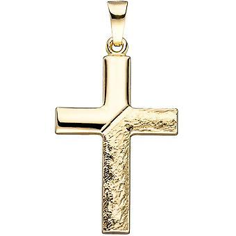 Hanger cross 585 goud geel goud gouden hanger goud Kruis Kruis hanger gehamerd