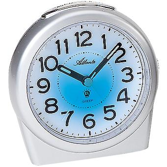 Atlanta 1948/19 alarm clock quartz analog silver quietly without ticking with light Snooze