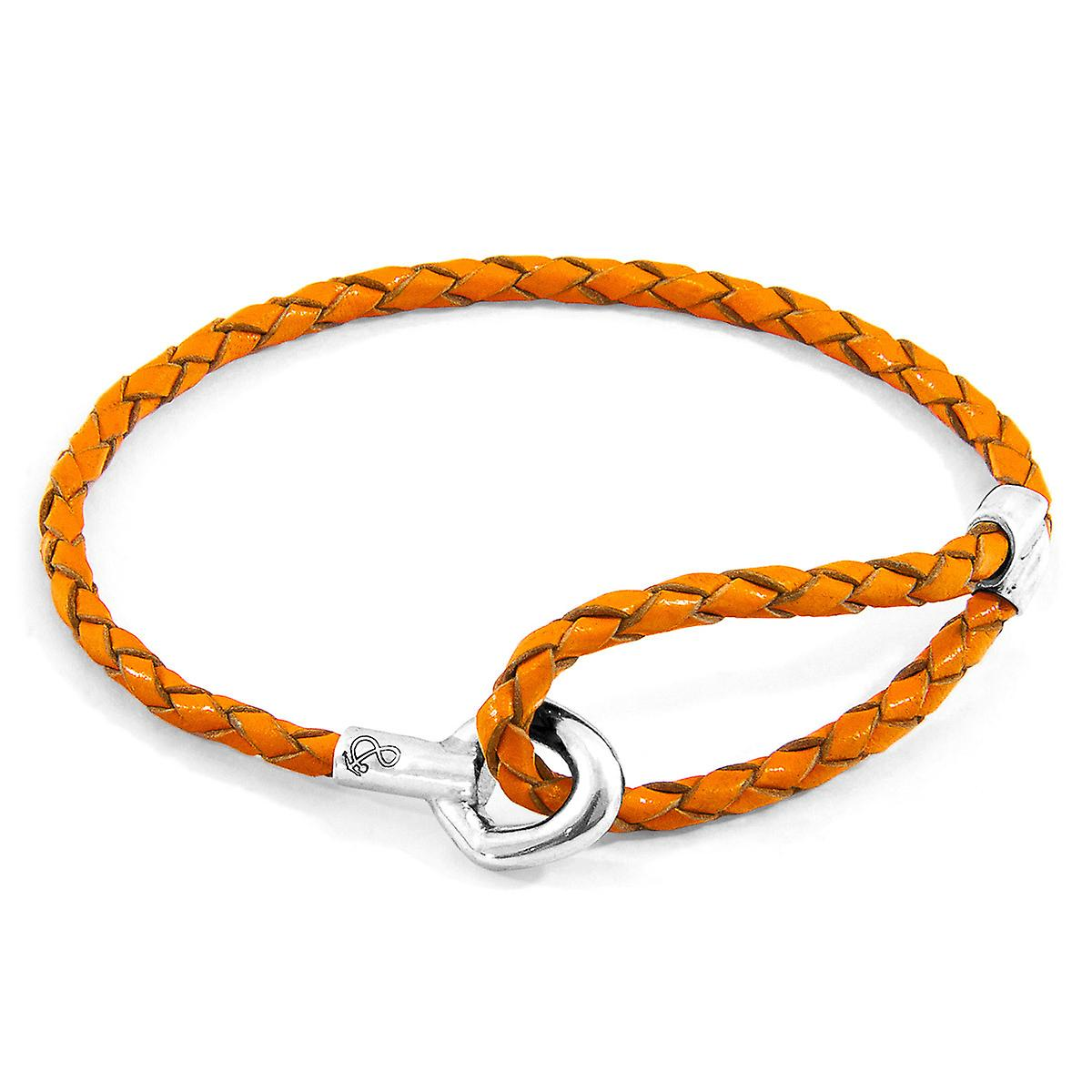 Anchor & Crew Fire Orange Blake Silver and Braided Leather Bracelet