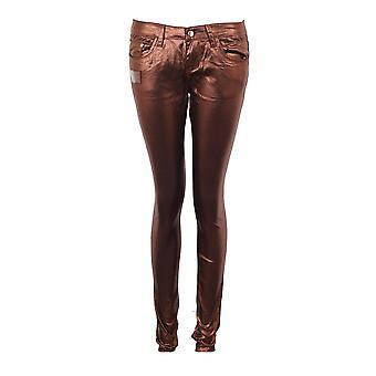 レディース ブロンズ ゴールド光沢のある装備のスリム フィット ジーンズの女性のズボン