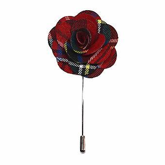 Tartan rosso fiore fatto a mano con revers Pin, asola, Corsage, Boutonniere