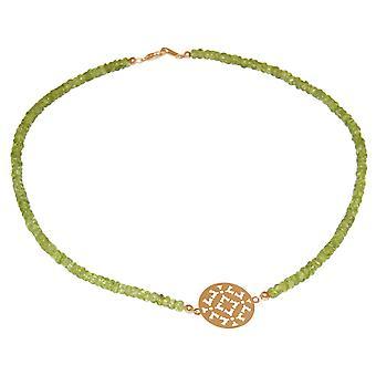 GEMSHINE halskjede choker: Yoga Mandala grønn peridot. Sølv, gullbelagt, Rose