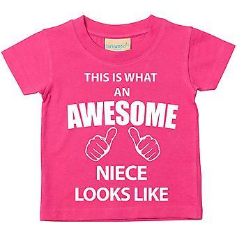 これは何の素晴らしい姪に見えるようなピンクの t シャツです。