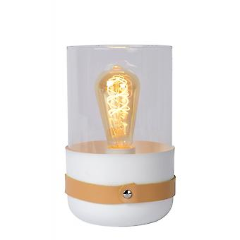 Lucide Centur moderna Tube glas vitt och brunt bordslampa