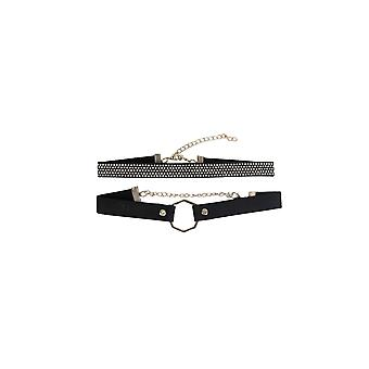 Lovemystyle Studded And Hexagon Double Choker Set