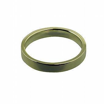 9kt guld 3mm almindelig flad retten formet Wedding Ring størrelse Pedersen