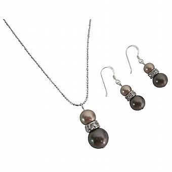 Engros smykker Bronze & brune perler halskæde & øreringe sæt