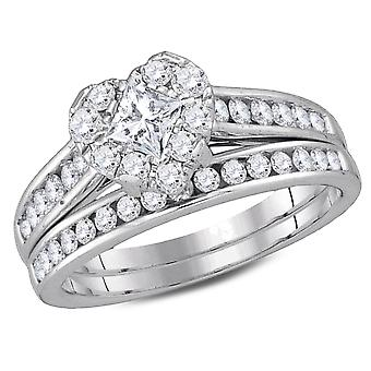 1.25 Carat (ctw H-I, I1-I2) Princess Cut Diamond Engagement Heart Ring Bridal Wedding Set in 14K White Gold