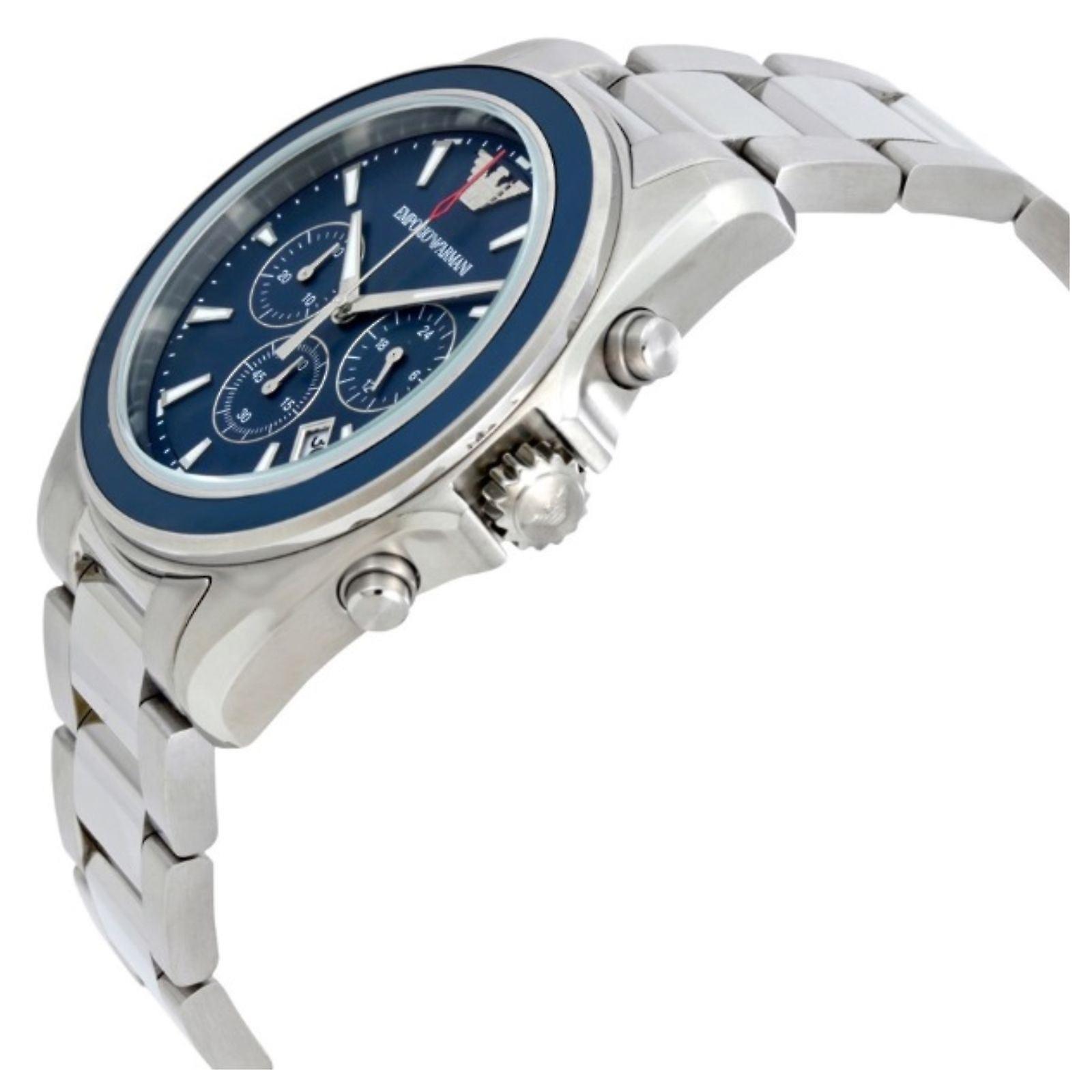 Emporio Armani Quartz argent coloration bleue du visage Mens Gents Wrist Watch AR6091