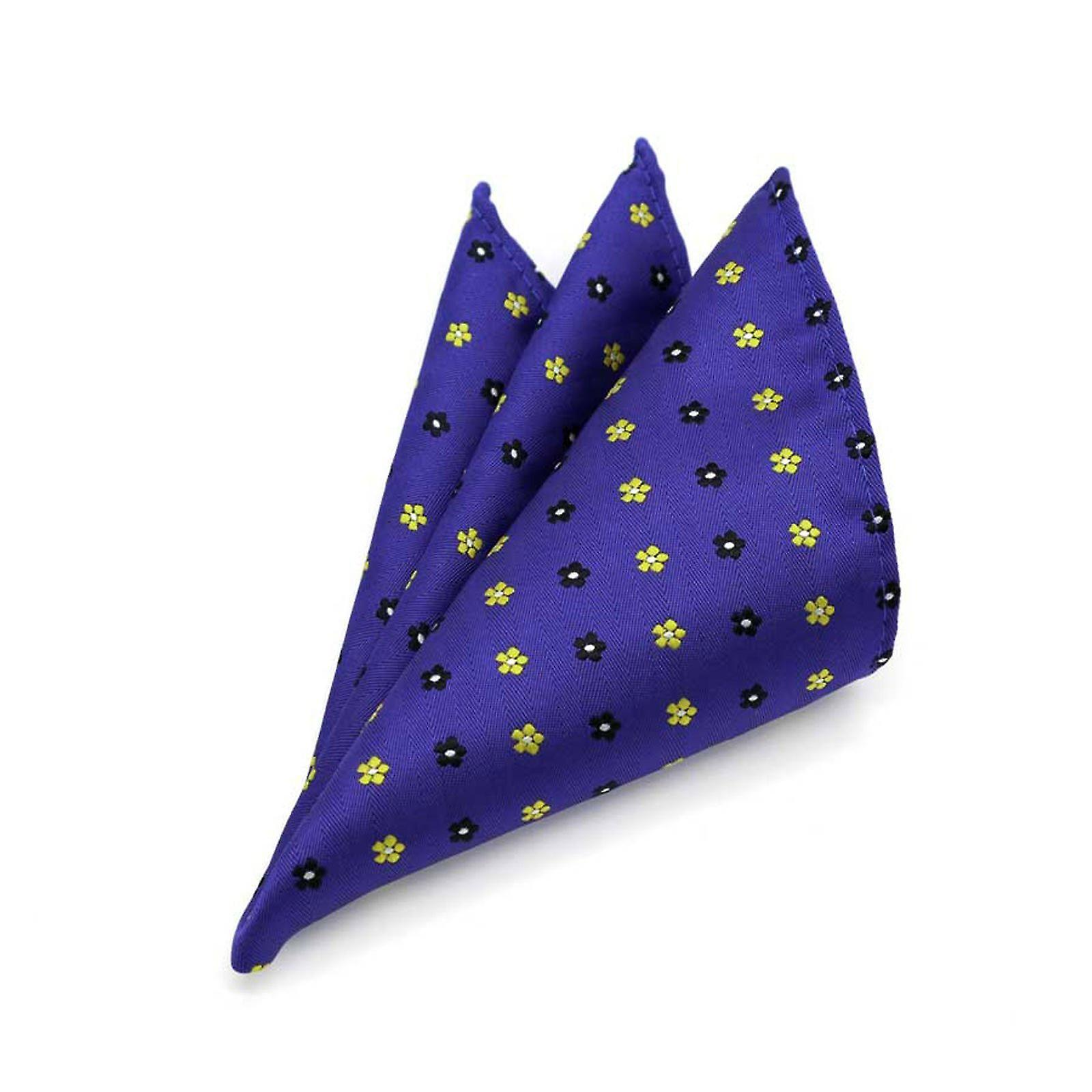 Midnight blue & yellow ditsy floral mens' pocket square