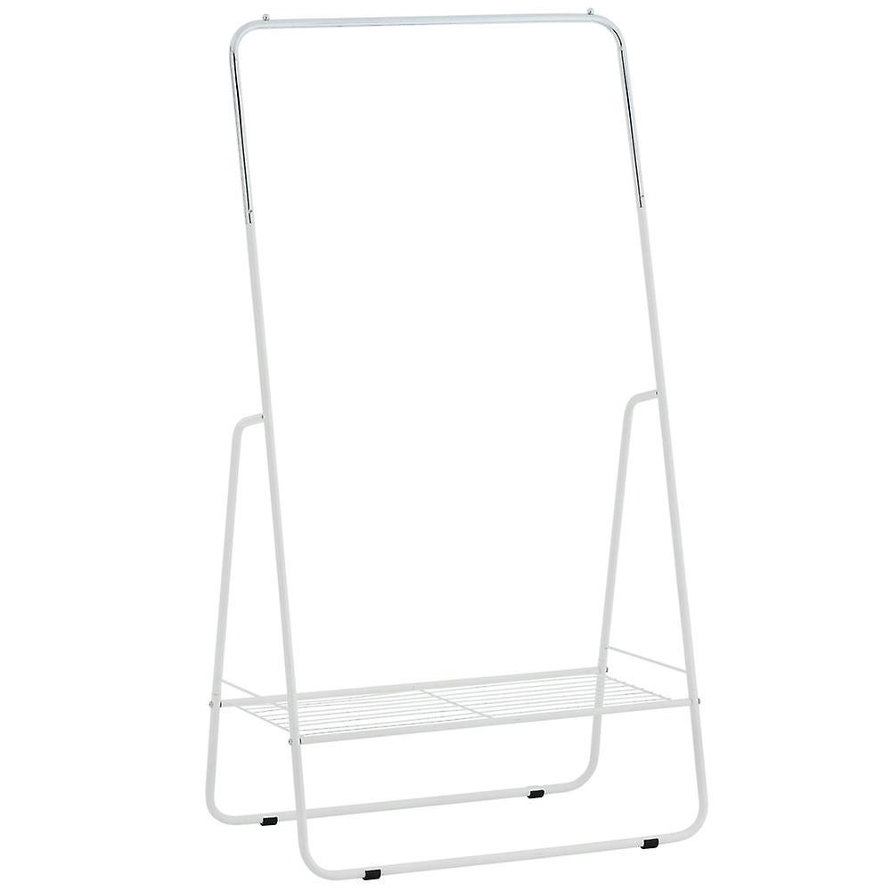 Ouvrir l'armoire / tringle à vêtements métalliques avec étagère - argent / blanc