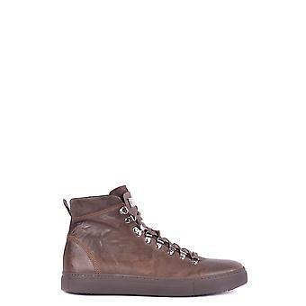 Stokton Ezbc270006 Men-apos;s Brown Leather Hi Top Sneakers