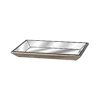 Astor Distressed Mirrored Tray With Wooden Detailing