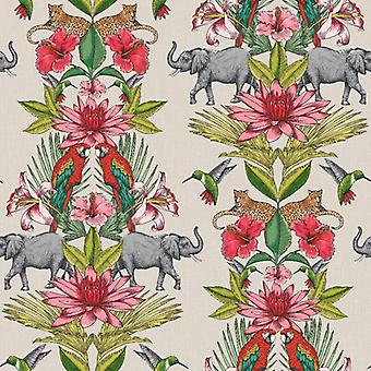 Colonial Elephant Forest Animal Print Floral Wallpaper Rasch Pink Green Beige