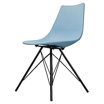 Fusion Living Iconic Blue Plastic Dining Chair With Black Metal Legs