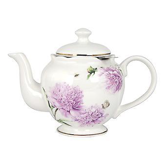 Ashdene Pink Peonies Metallic Infuser Teapot