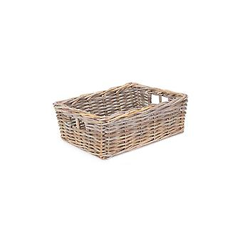 Small Shallow Kubu Grey Rattan Rectangular Basket