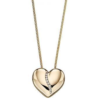 Elements Gold Heart Diamond Channel Pendant - Gold/Silver
